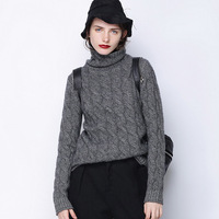 High collar cashmere sweater fashion winter twist knitted sweater