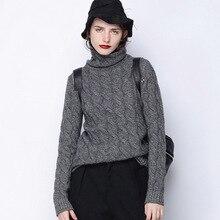 Высокий воротник кашемировый свитер модная зимняя одежда твист вязаный свитер