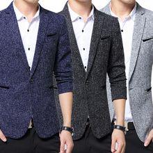 2017 Fashion Men Slim Fit Blazer Suit Jacket Blazers Coat Office Casual Wear Tops Plus Size 5XL -MX8