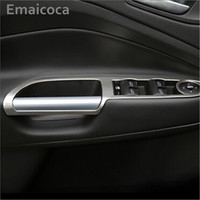 Car Styling Stainless Steel Interior Front Door Window Switch Panel Cover Trim Sticker Case For Ford