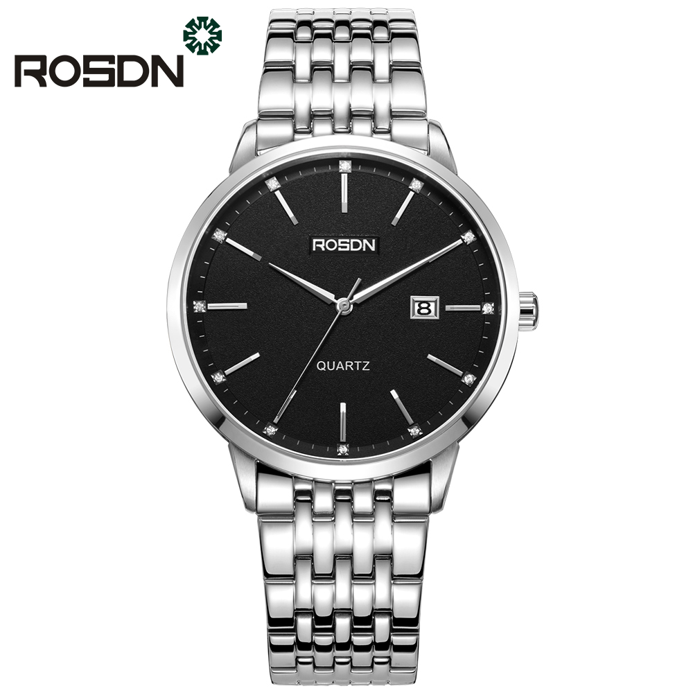 ROSDN Brand Couple Watches Classic Simple Watch Men and Women Watches Ultra-Thin Steel Strap wrist watch wedding Clock adjustable wrist and forearm splint external fixed support wrist brace fixing orthosisfit for men and women