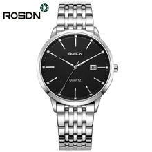 ROSDN Brand Couple Watches Classic Simple Watch Men and Women Watches Ultra-Thin Steel Strap wrist watch wedding Clock