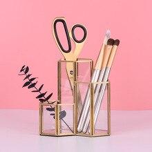 Ins Soporte nórdico de vidrio para bolígrafo y tubo de almacenamiento, Cartucho de brochas de maquillaje, paquete Retro, caja de cristal, accesorios de oficina, portalápices
