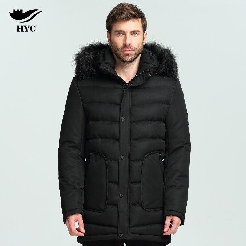 Хай Ю Cheng зима-осень Куртки фугу Длинные парки с капюшоном меховой воротник мужской парка долго Для мужчин Куртки хлопковая стеганая теплая ...
