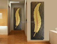 1 Pcs Retro And Nostalgic Style Tree Leaf Oil Painting Long Feather Canvas Art Modern Corridor Home Decoration Vertical Version