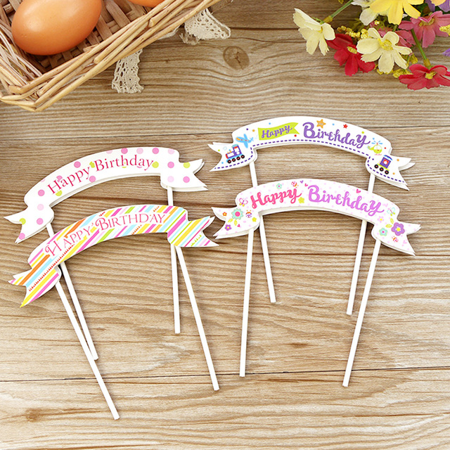 10Pcs Lot Happy Birthday Cupcake Cake Topper Flag Accessories Kids Party Decoration Supplies DIY Bunting Banner