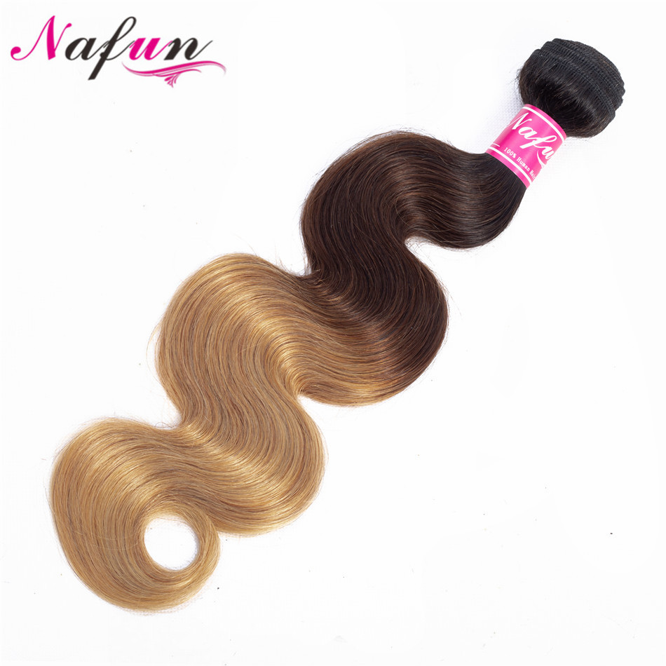 NAFUN Ombre Blonde Brazilian Body Wave Hair Bundles 100% Pre-colored Human Hair Bundles T1B/4/27 Hair Weaving Non-Remy Hair