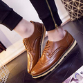 2016 European Brand Designer Carving Brogue Flat Shoes Men Oxford Shoes Flat Heel Casual Shoes Lace-Up Male Bullock Flats