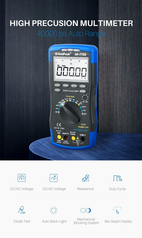 HoldPeak digitaalse multimeetri tester HP-770D automaatne vahemik - Mõõtevahendid - Foto 2