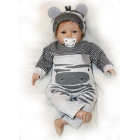 Cartoon Style 22 Inch Reborn Baby Doll Soft Silicone Touch Real Cosplay Gray Rat Boy with Rooted Mohair Baby Doll New Designed