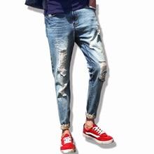 2016 Высокое качество мужские джинсы отверстие Случайные рваные джинсы мужчины хип-хоп брюки Прямые джинсы для мужчин джинсовые брюки