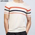 2017 New Male T-shirt O neck knitted summer shorts striped Cool breathable short T shirt men brand  clothing man Silm fitted