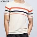 2017 Novo Macho T-shirt O pescoço de malha calções de verão listrado fresco respirável curto t shirt homens marca clothing homem silm equipado