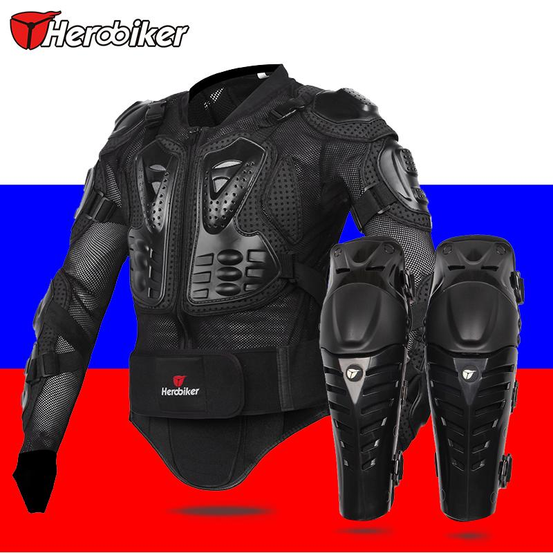 HEROBIKER Motorcycle  Knee protector  motorcycle Body Armor  Protection Motorcross Racing Spine Chest Protective Jacket herobiker black motorcycle racing body armor protective jacket gears short pants motorcycle knee protector moto gloves