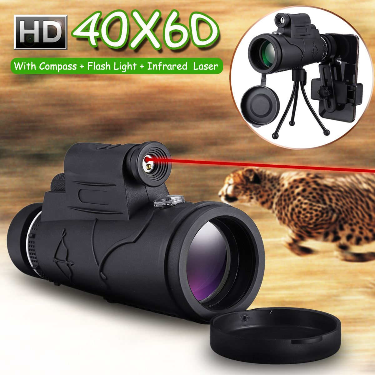 Camera-Lens Tripod-Kit Telescope-Lens Zoom Led-Phone Optics Night-Vision Monocular