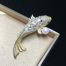 ZHBORUINI 2019 High Quality Natural Freshwater Pearl Brooch Zircon Lucky Carp Jewelry For Women Gift Accessories