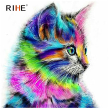 RIHE Colourful Cat Diy Painting By Numbers Animal Oil On Canvas Hand Painted Cuadros Decoracion Modern Acrylic Paint
