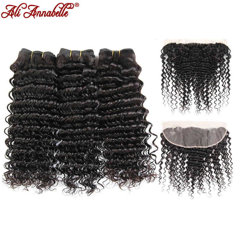 ALI ANNABELLE HAIR Deep Wave Brazilian Human Hair Bundles With Lace Frontal Natural Black 3 Bundles Hair Weave Remy Hair