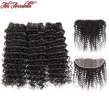 ALI ANNABELLE HAIR Deep Wave Brazilian Human Hair Bundles With Lace Frontal Natural Black 3 Bundles Hair Weave Remy Hair