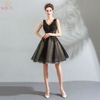 Little Black Cocktail Dresses Ball Gown Sleeveless Walk Beside You V neck Knee Length Appliqued Beads Formal Gowns Free Shipping