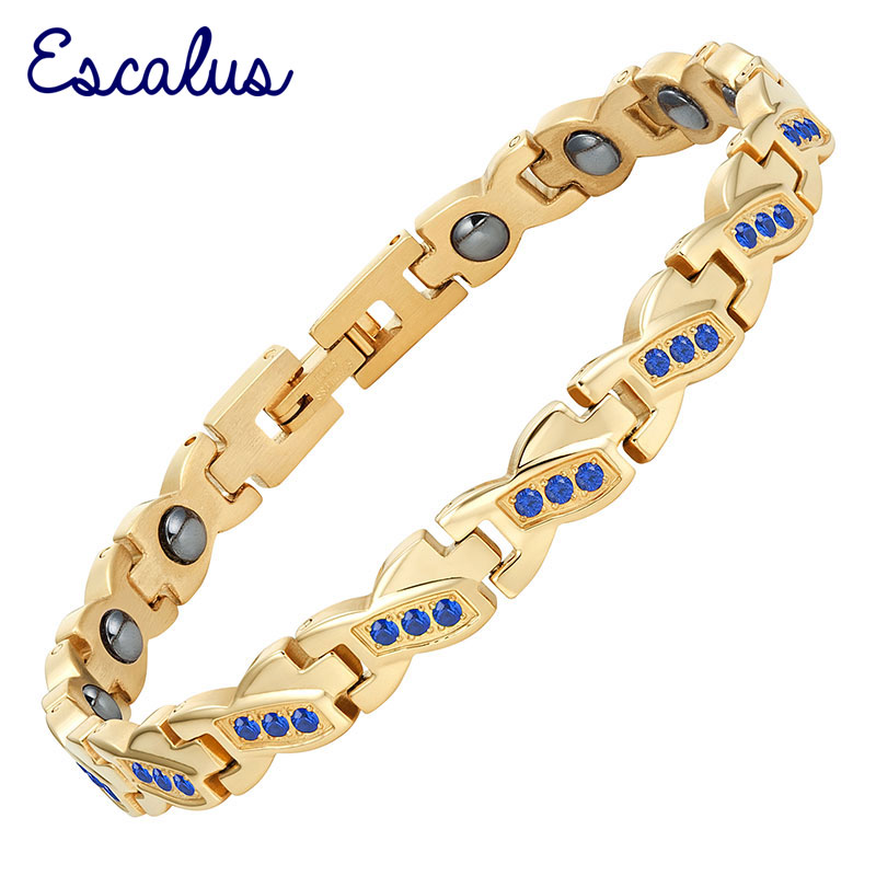 Escalus Красота синие кристаллы Магнитная Для женщин браслет Нержавеющаясталь золото Цвет покрытие цепочка Браслеты браслет Шарм