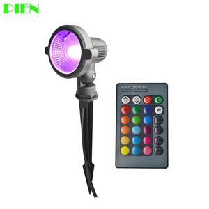 Светодиодный садовый светильник, уличный, 12 В, 220 В, 10 Вт, светильник для газона RGB, подводный светильник s с шипами, водонепроницаемый IP65, бесп...