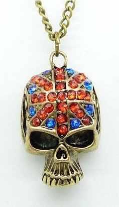 القوطية الجمجمة البريطانية العلم قلادة قلادة سترة سلسلة هدية جميلة شحن مجاني قطرة مجوهرات الأزياء الراين الأحمر