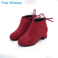 Winter Shoes For Girls Princess Boots Tree Wrasse 2017 New Girls And Ankle Boots Small High