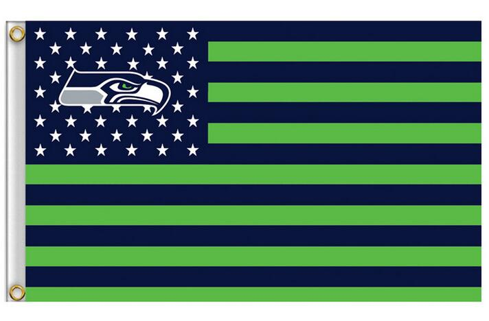 Seattle Seahawks Flag with Star and Stripe 3×5 FT Banner 100D Polyester NFL Flag Brass Grommets , free shipping