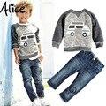 2017 Newest Children's clothing set t shirt +  pants 2pcs/set Autumn baby boy's suit Kids car long sleeve denim trouser jeans