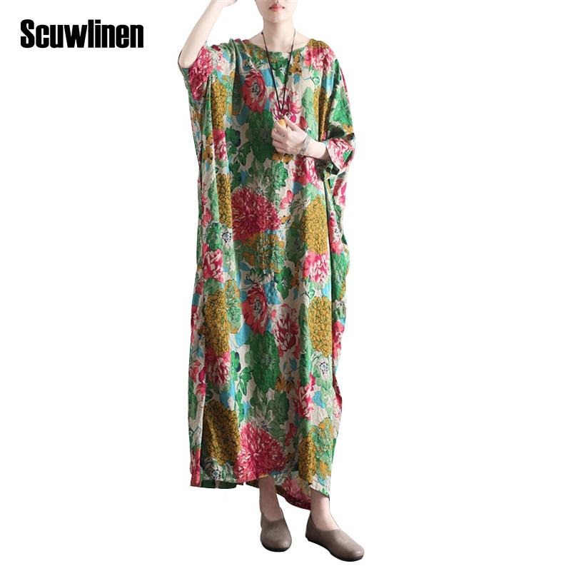 SCUWLINEN Vestidos 2019 Ljetna haljina Vintage Ispis O-neck ogrtač - Ženska odjeća - Foto 2