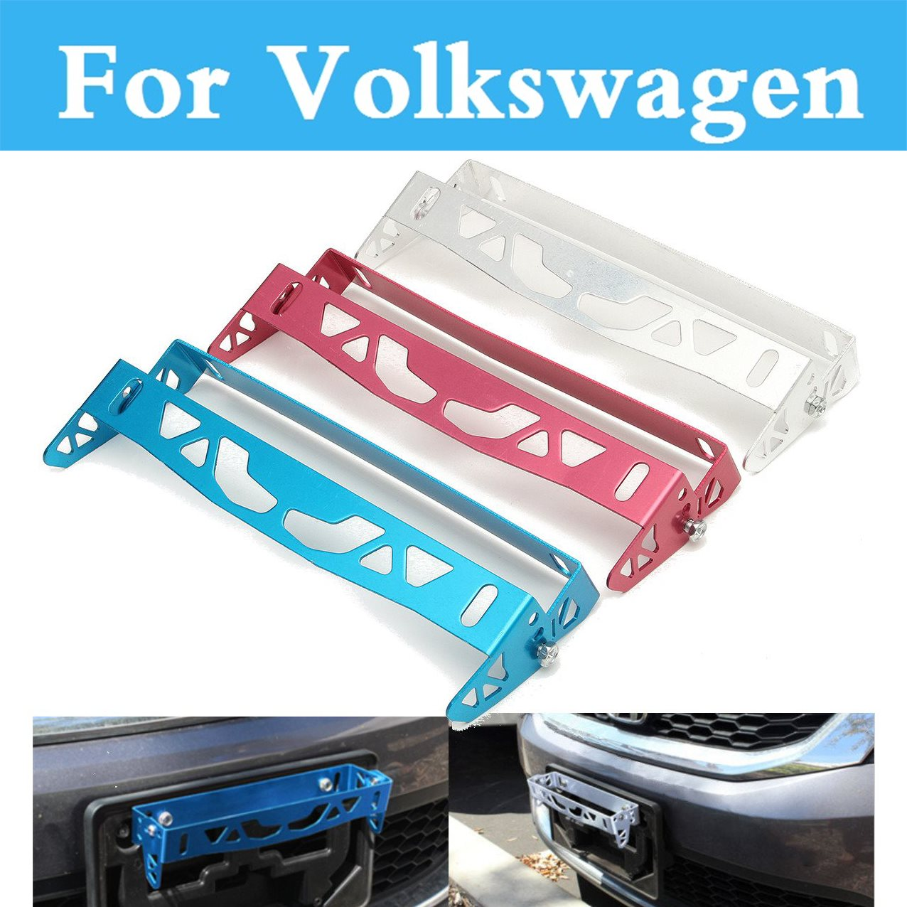 Aluminum License Frame Power Racing License Plate Frames Tag Holder For Volkswagen Golf GTI Golf Plus Golf R Beetle Bora Eos Fox