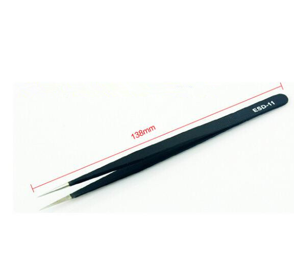 ESD-11 Antimagnetic Acid Tweezers High Elastic Stainless Steel Tip Tweezers Anti-static Tweezers