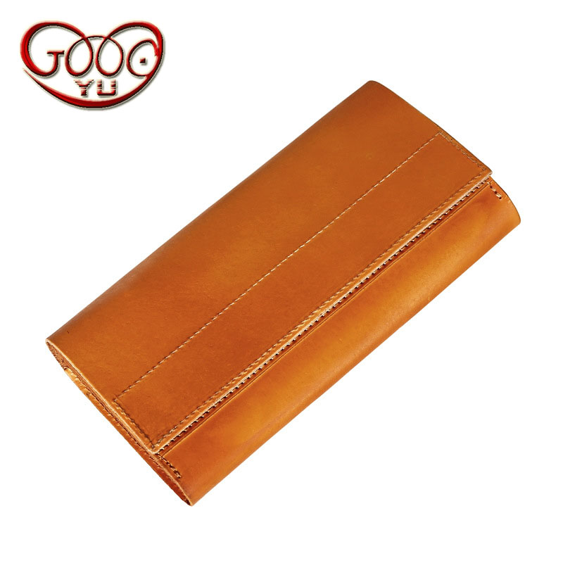 Men's cross-section leather wallet retro vegetable tanned leather clutch large-capacity leather wallet rub color clutch bag olg yat italian vegetable tanned cowhide handmade long section of hasp art wallet elegant retro handbag fiscal cloth