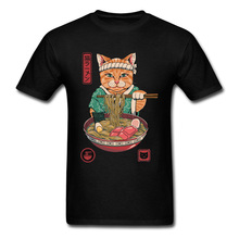 Ramen Recluse Samurai Cat Black Cheap Tshirts Summer/Fall Tops & Tees Short Sleeve Faddish Pure Cotton Printed Shirts Men