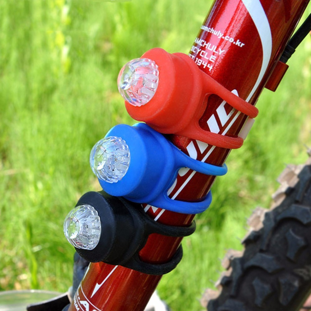 2PCS Silicone Bike Bicycle Cycling LED Headlamp Wheel Flash Light Warning Lamp