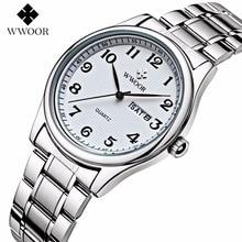WWOOR Часы Мужчины Мода Повседневная Аналоговый Кварцевые Наручные Часы Полный нержавеющей стали женские часы Пару часов relogio feminino Часы