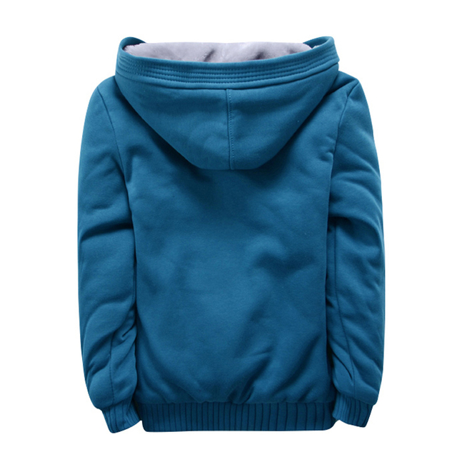 Men Hoodies Jacket Fitness Clothing Winter Thick Warm Bomber Hoody Coat Solid Grey Black Zipper Tracksuit Mens Fleece Cardigan