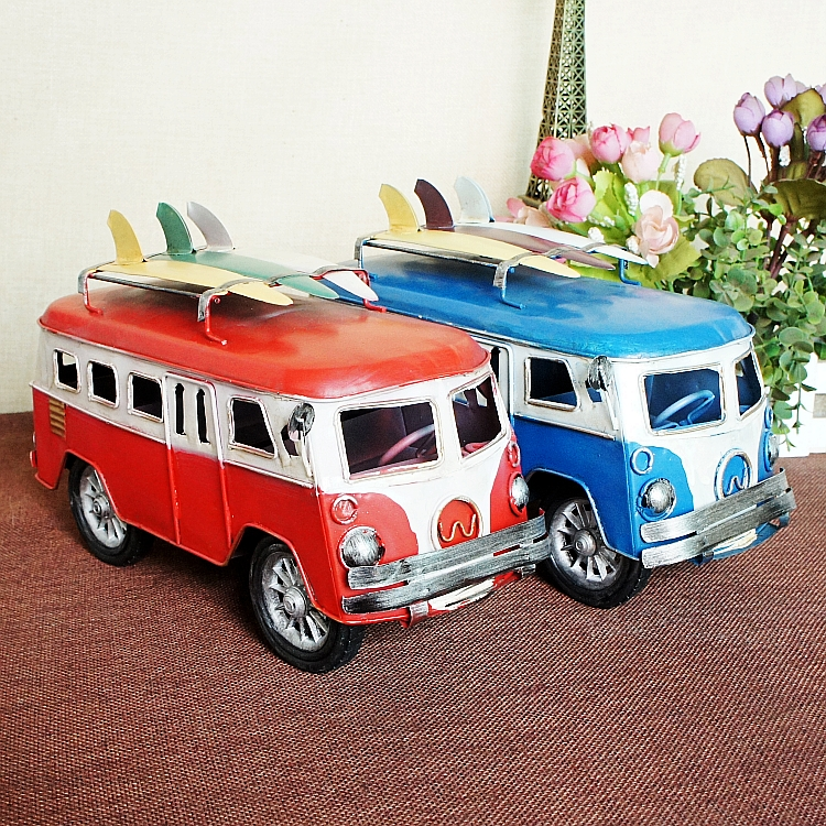 Red fashion bus model vintage home decoration gift