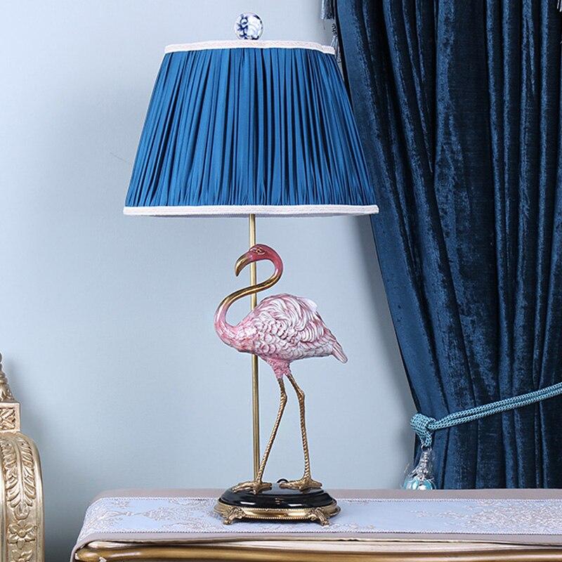 Nordique en céramique Simulation Flamingo salon en céramique lampe de Table accessoires maison artisanat chambre créative lampe de chevet décor
