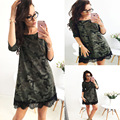 Women Dress Spring loose camouflage vestidos round neck casual ukraine office Above Knee three quarter sleeve Party lace dress