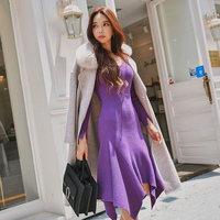 Dabuwawa Vestido Autumn Winter V Neck Slim Knitted Dress Long Sleeve Black Friday Elegant Mermaid Dress Women Wholesale