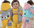 Double 11 sale! baby winter outwear 3pcs/set thicken hoodies vest and pants children clothing set kids clothes set