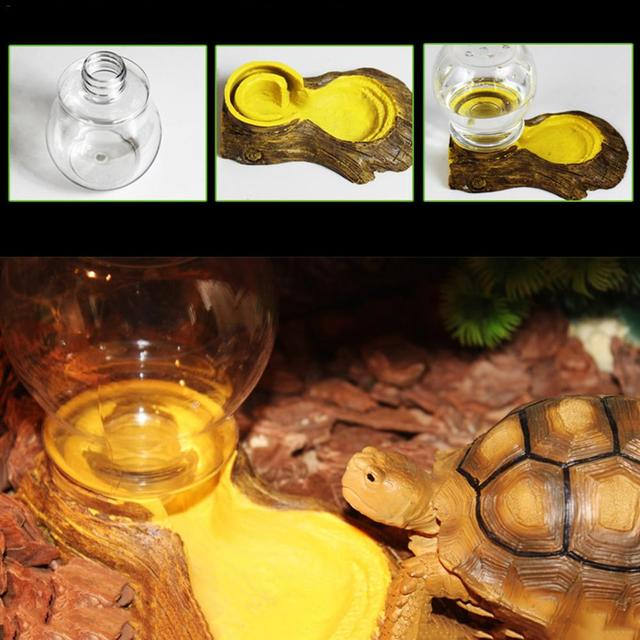Reptile Amphibians Automatic Waterer Tortoise Basin Lizard Bowl Water Feeder Drinking Fountains Reptile Box Landscaping Decor