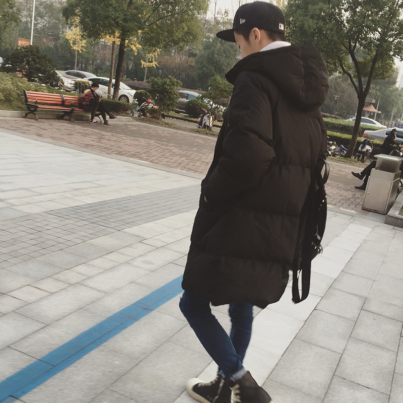 2017 Winter Mens Jackets Brand Casual Warm New Style Loose Hooded Coat Long Length Overcoat Cotton-padded Parka Black Clothes winter jacket men warm coat mens casual hooded cotton jackets brand new handsome outwear padded parka plus size xxxl y1105 142f