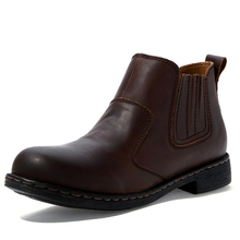 Mens Round Toe Genuine Leather Slip On Motorcycle Ankle Boots Winter Casual Oxford Western Chukkas Shoes