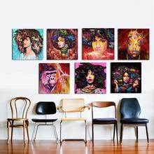 ZZ2186 HDพิมพ์โปสเตอร์ผนังศิลปะนามธรรมสมัยใหม่แอฟริกันของผู้หญิงภาพผ้าใบน้ำมันจิตรกรรมG Raffitiถนนศิลปะสำหรับห้องนั่งเล่น