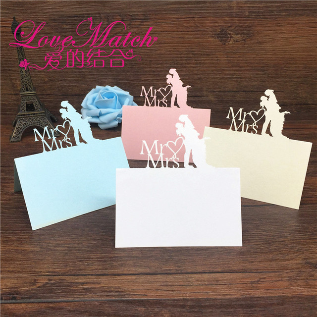 40pcs Bride And Groom Laser Cut Wedding Table Place Card Name Card
