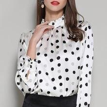 Шелковистые блузы Рубашки Топы с принтом в горошек белые офисные