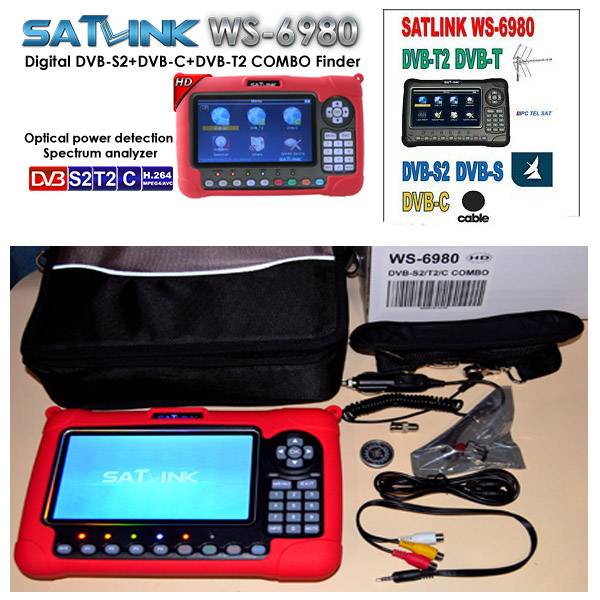 WS6980 satlink ws-6980 DVB-S2/C+DVB-T2 COMBO Optical detection Spectrum satellite finder meter vs satlink ws6979 combo finder satlink ws 6979se satellite finder meter 4 3 inch display screen dvb s s2 dvb t2 mpeg4 hd combo ws6979 with big black bag